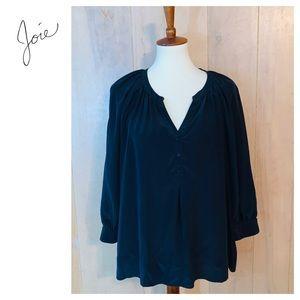 Joie Black Silk Blouse. Size Large